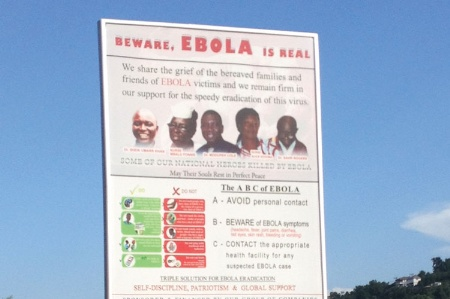 Ebola billboard outside Freetown, Sierra Leone