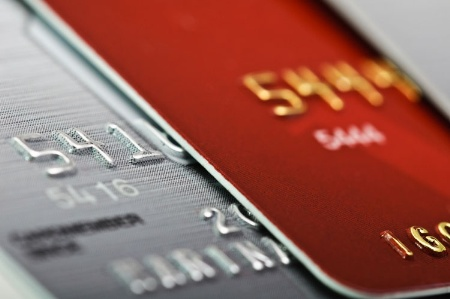 Close-up of two credit cards