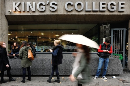 Students gathered outside King's College London