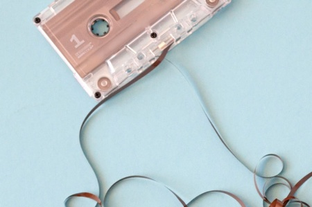 Cassette with tape unreeled