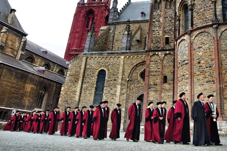 Maastricht University professors walking in single file