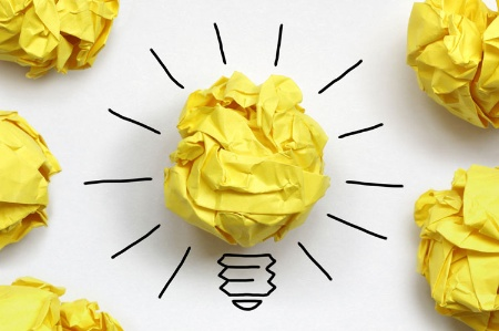 Innovation concept paper lightbulb