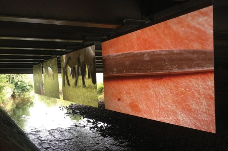 Cinema Sark installation below Sark Bridge (9 September 2014)