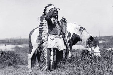 Native American man with horse