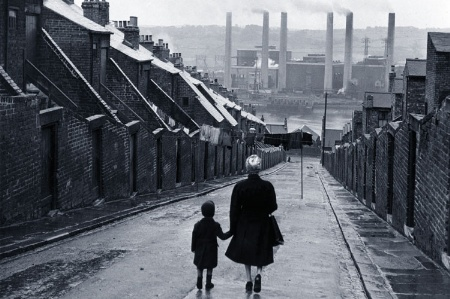 Richard Hoggart/Woman and child walking in industrial UK town