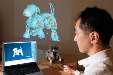 Artificial intelligence scientist with robot dog