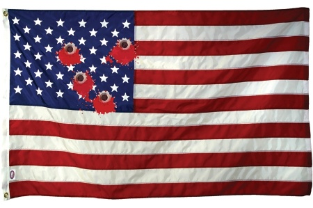 American flag with bloody bullet holes