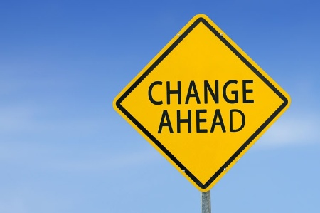 'Change Ahead' road sign