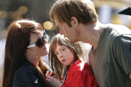 Julianne Moore, Onata Aprile and Alexander Skarsgård in What Maisie Knew