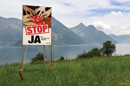 'Stop JA' sign by Swiss lake