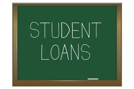 'Student loans' written on blackboard