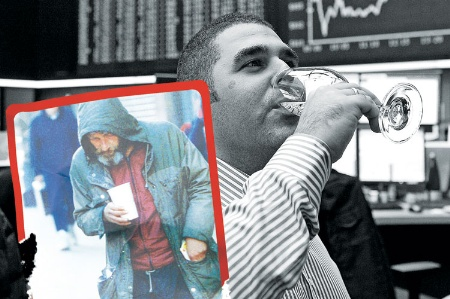 Stockbroker drinking champagne contrasted with homeless man