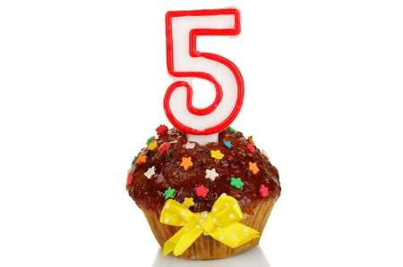 Five year birthday cupcake