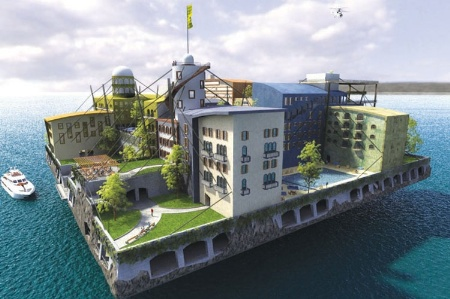Concept of housing development island