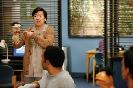 Ken Jeong (Community) with hand puppet