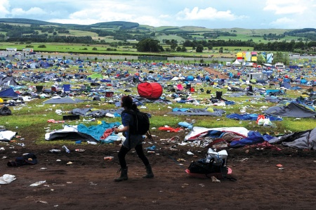 Mess left after end of music festival