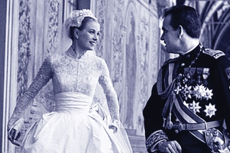 Grace Kelly and Prince Rainier on their wedding day