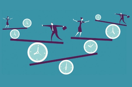 People balancing on clock scales (illustration)