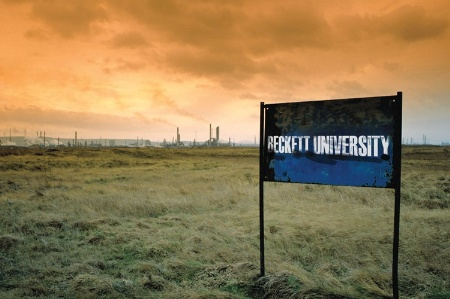 Beckett University sign in front of wasteland