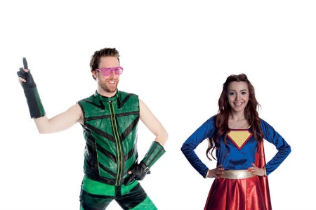 A man and woman dressed up as superheroes