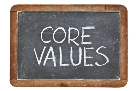 'Core values' written in chalk on blackboard