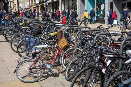 Bicycles locked up in town centre