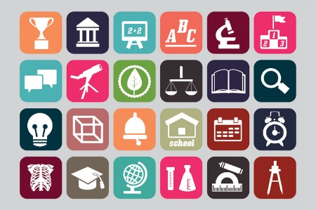 Grid of university subject icons