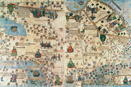 Catalan Atlas: Detail of Asia, by Jafunda and Abraham Cresques, 1375