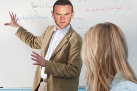 Wayne Rooney lecturing
