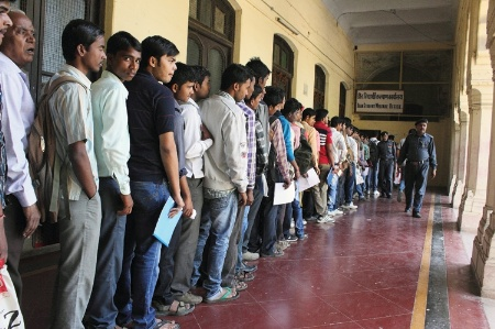 Queue of Indian students