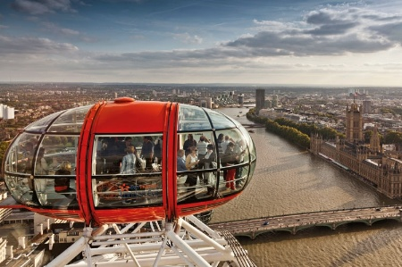 People riding on the London Eye