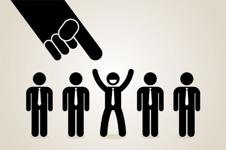Man being chosen by employer (illustration)