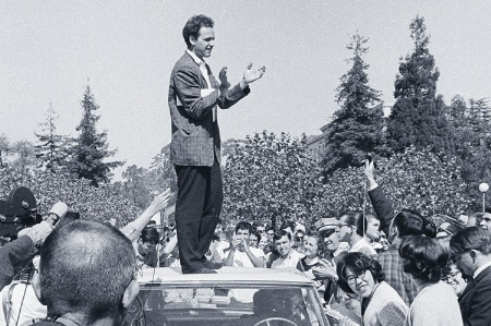 Mario Savio speaking at Berkeley Free Speech Movement, 1964