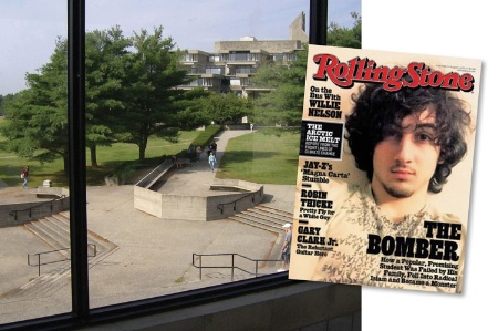 University campus and Rolling Stone cover