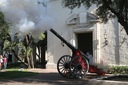Cannon being fired at Caltech