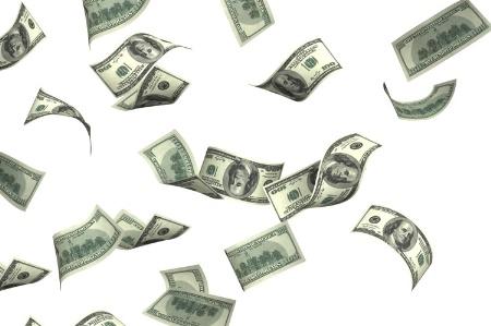 dollar bills falling on - photo #46