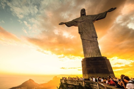 Tourists visiting Christ the Redeemer statue in Brazil