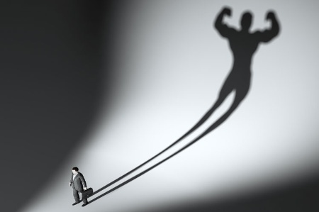 Man casting athletic shadow