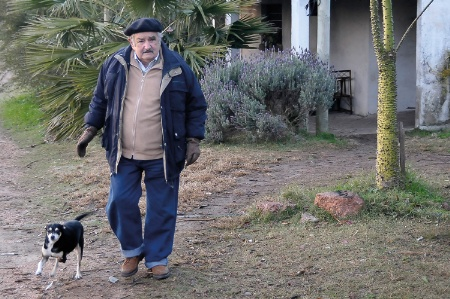 Jose Mujica with dog