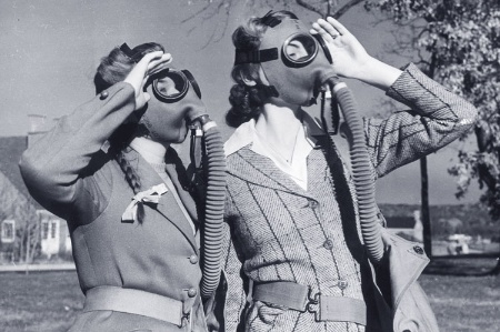 Women wearing gas masks