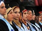 Palestinian students at Al-Quds Open University graduation ceremony