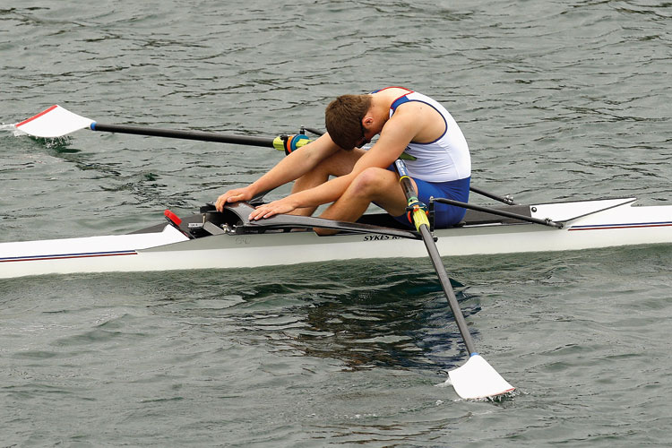 A rower resting