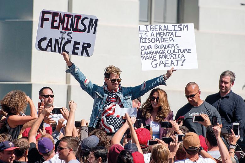 Anti-liberal protester