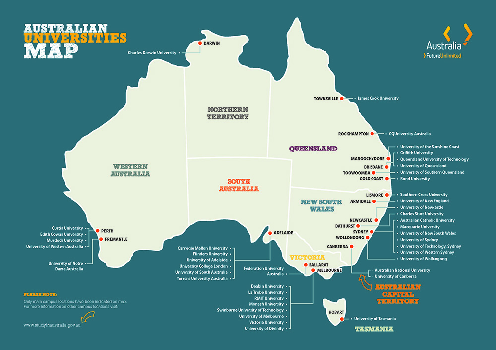 Map of Australian universities