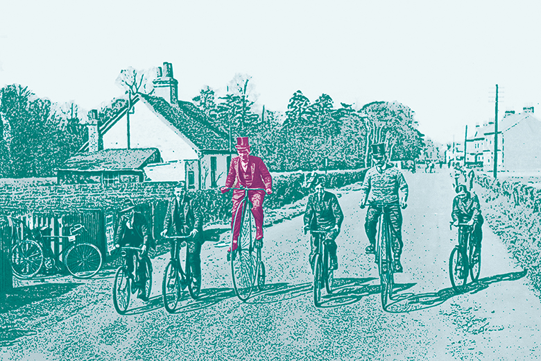 Men riding penny farthings