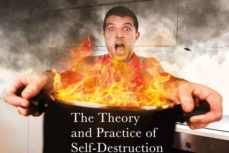 Book jacket, The Theory and Practice of Self-Destruction by Reg Thanatos, Doomsday Press, 2015