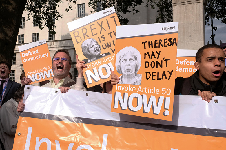 Brexit supporters calling for Article 50 to be invoked, London