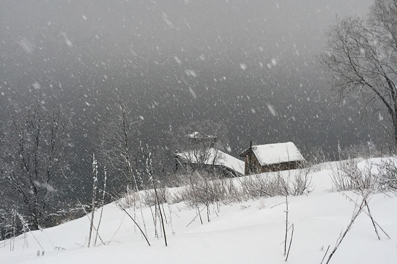 Cabin in snow in Norway