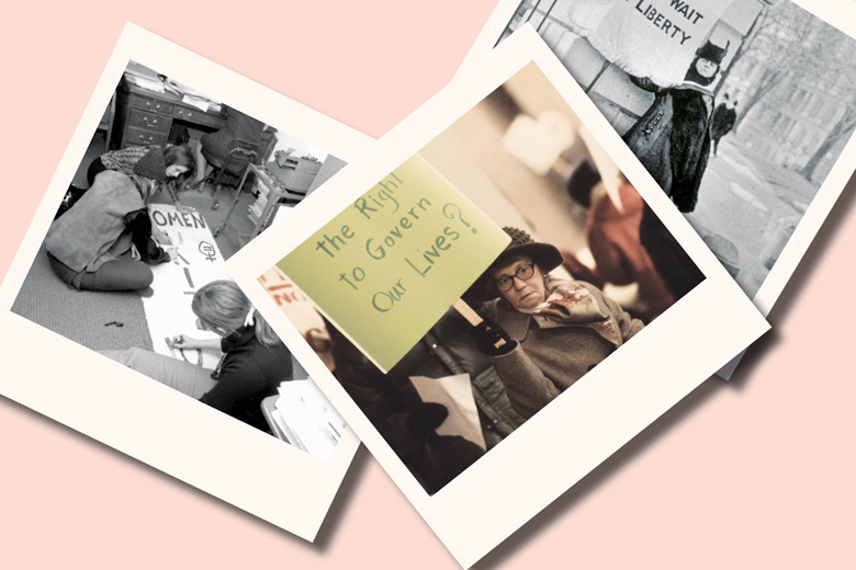 Collage of polaroid photos of demonstrators, 1960s/1970s