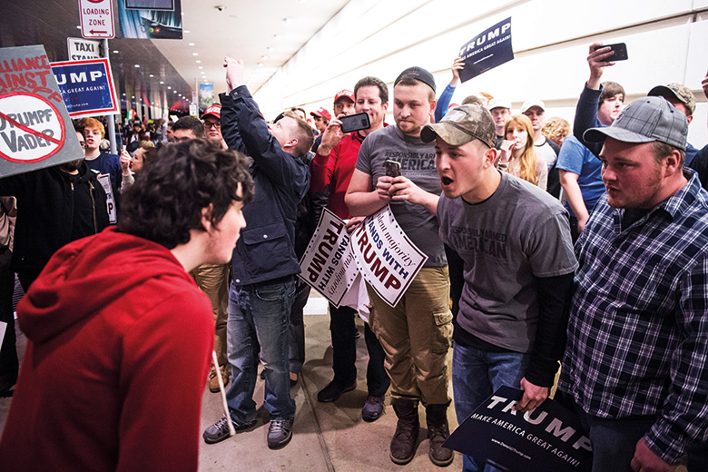 Confrontation between Trump supporters and anti-Trump protesters